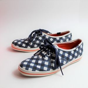 Keds Kate Spade Navy Gingham Plaid Sneakers Size 6